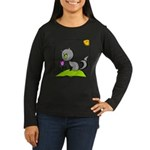 Kitty Smelling Flower Women's Long Sleeve Dark T-S
