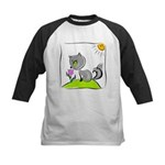 Kitty Smelling Flower Kids Baseball Jersey