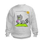 Kitty Smelling Flower Kids Sweatshirt