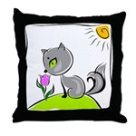Kitty Smelling Flower Throw Pillow