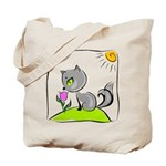 Kitty Smelling Flower Tote Bag