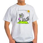 Kitty Smelling Flower Light T-Shirt