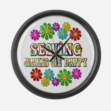 Sewing Happy Large Wall Clock