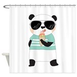 Panda Bear With Ice Cream Shower Curtain