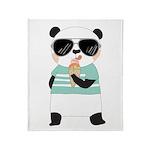 Animals Panda Bear With Ice Cream Throw Blanket