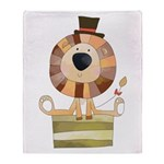 Circus Lion In Top Hat Throw Blanket
