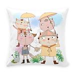 Cartoon Cats Summer Showers Everyday Pillow