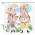 Cartoon Cats Summer Showers Shower Curtain