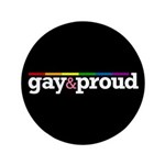 "Gay&proud Black 3.5"" Button (100 pack)"