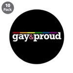 "Gay&proud Black 3.5"" Button (10 pack)"