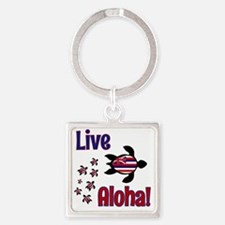 Live Aloha! Hawaii Square Keychain