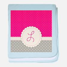 Cute Monogram Letter L baby blanket