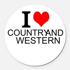 I Love Country And Western Round Car Magnet