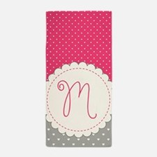 Cute Monogram Letter M Beach Towel