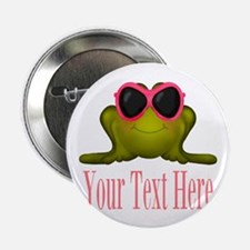 """Frog in Pink Sunglasses Custom 2.25"""" Button (10 pa"""