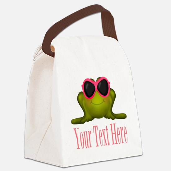 Frog in Pink Sunglasses Custom Canvas Lunch Bag
