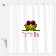 Frog in Pink Sunglasses Custom Shower Curtain