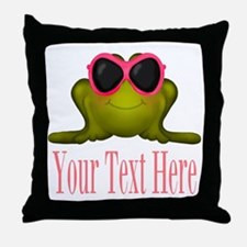 Frog in Pink Sunglasses Custom Throw Pillow