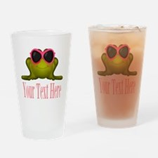 Frog in Pink Sunglasses Custom Drinking Glass