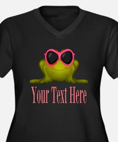 Frog in Pink Sunglasses Custom Plus Size T-Shirt