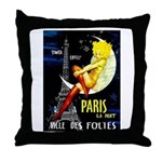 Paris La Nuit Ville des Folies Throw Pillow