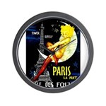 Paris La Nuit Ville des Folies Wall Clock