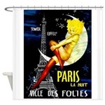 Paris La Nuit Ville des Folies Shower Curtain