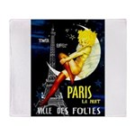 Paris La Nuit Ville des Folies Throw Blanket