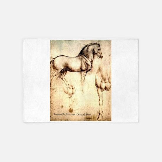 Leonardo da Vinci Study of Horses 5'x7'Area Rug