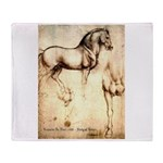 Leonardo da Vinci Study of Horses Throw Blanket