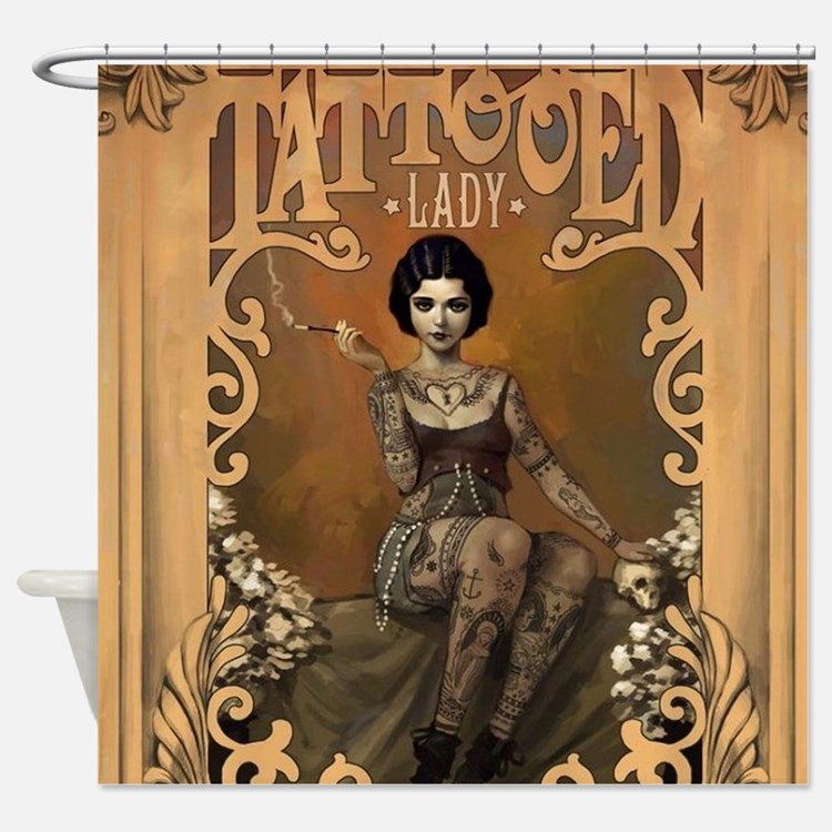 Tattoo shower curtains tattoo fabric shower curtain liner for How to shower with a new tattoo