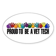 Proud To Be A Vet Tech Oval Decal