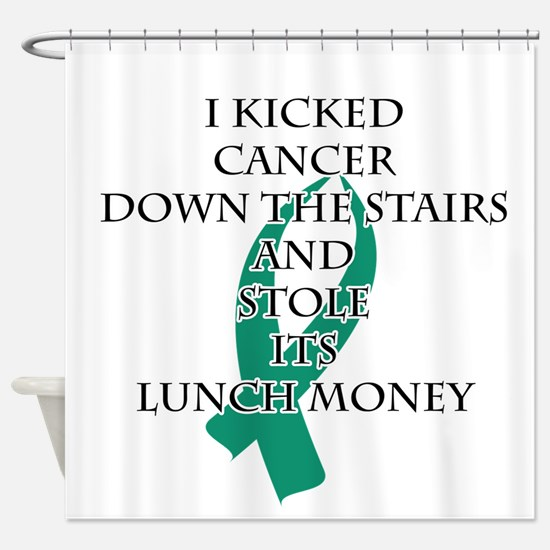 Cancer Bully (Teal Ribbon) Shower Curtain