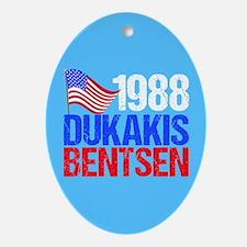 Dukakis 1988 Election Vintage Oval Ornament
