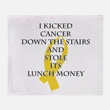 Cancer Bully (Gold Ribbon) Throw Blanket