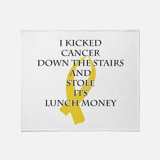 Cancer Bully (Gold Ribbon) Throw Blanket