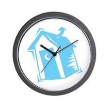 Blue Outhouse Wall Clock
