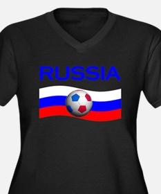 TEAM RUSSIA WORLD CUP Women's Plus Size V-Neck Dar