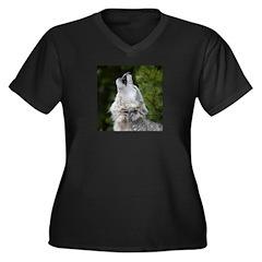 Morning Wolf Women's Plus Size V-Neck Dark T-Shir