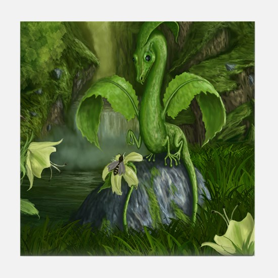 lilly leaf dragon Tile Coaster