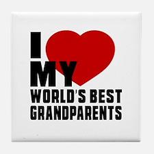 I love My World's Best grandparents Tile Coaster