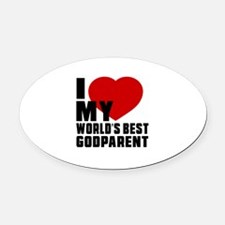 I love My World's Best Godparent Oval Car Magnet