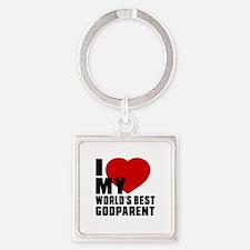 I love My World's Best Godparent Square Keychain