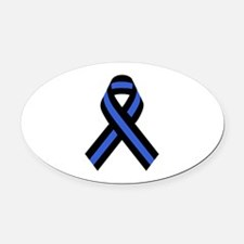 Police Ribbon Oval Car Magnet