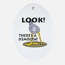 Blind Democrat Oval Ornament