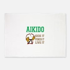 Aikido kick it punch it live it 5'x7'Area Rug