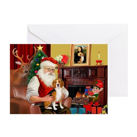 Santa's Beagle Greeting Cards (Pk of 10)
