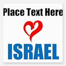 "Loves Israel Square Car Magnet 3"" x 3"""