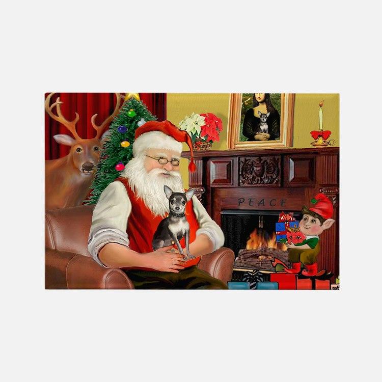 Santa's Chih (b&t) Rectangle Magnet