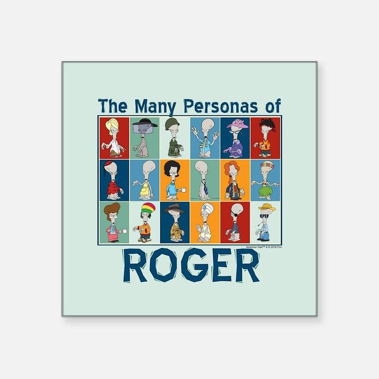 "American Dad Roger Personas Square Sticker 3"" x 3"""